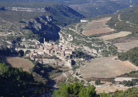 View on Minerve during a hiking tour in winter
