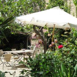 de achtertuin met grote tafel en meerdere zitjes